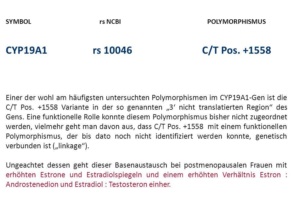 SYMBOL rs NCBI POLYMORPHISMUS CYP19A1rs 10046 C/T Pos. +1558 Einer der wohl am häufigsten untersuchten Polymorphismen im CYP19A1-Gen ist die C/T Pos.