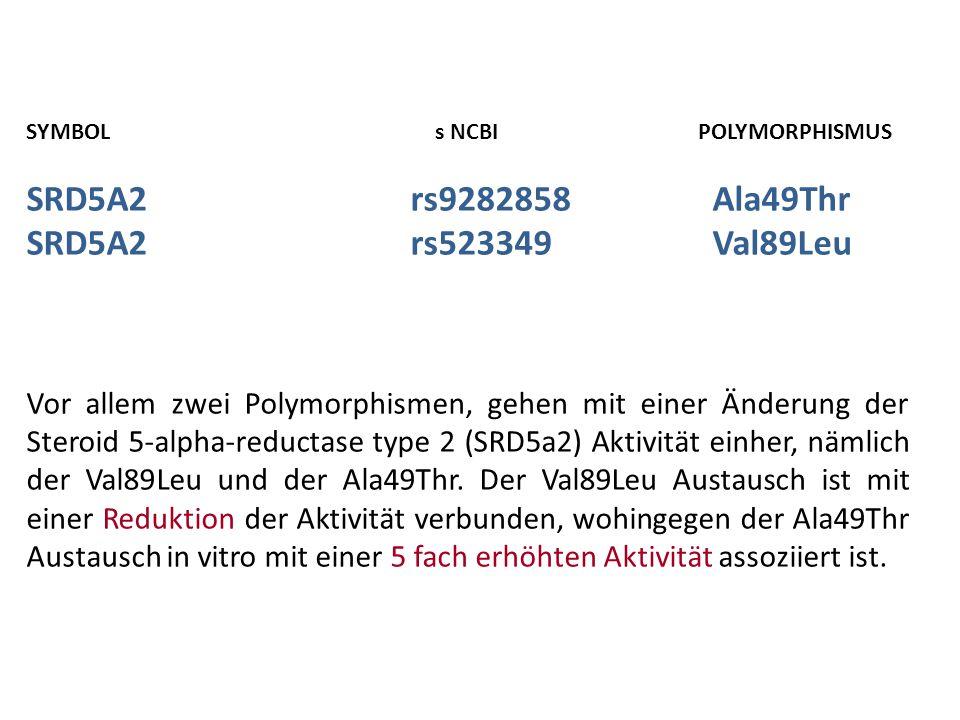 SYMBOL s NCBIPOLYMORPHISMUS SRD5A2rs9282858 Ala49Thr SRD5A2rs523349 Val89Leu Vor allem zwei Polymorphismen, gehen mit einer Änderung der Steroid 5-alpha-reductase type 2 (SRD5a2) Aktivität einher, nämlich der Val89Leu und der Ala49Thr.