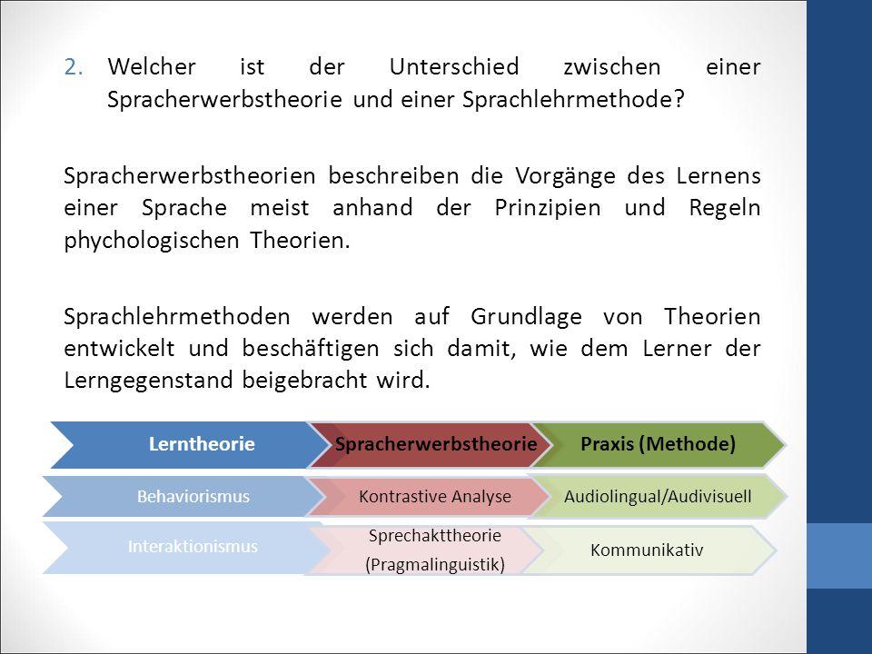 2.Welcher ist der Unterschied zwischen einer Spracherwerbstheorie und einer Sprachlehrmethode.