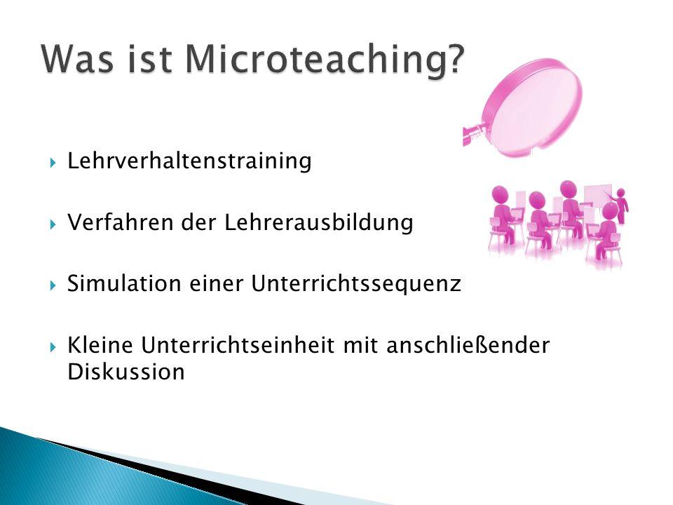Microteaching…  erlaubt Sicht auf das eigene Lehrverhalten  bietet praktische Übungen in experimentellen Settings  ermöglicht Trainingserfolge für die allgemeine Unterrichtskompetenz  kann in die Berufswelt übertragen werden