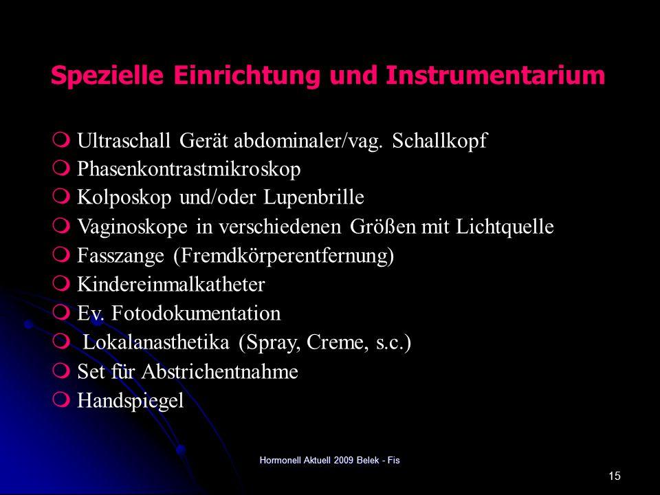 Hormonell Aktuell 2009 Belek - Fis 15 Spezielle Einrichtung und Instrumentarium  Ultraschall Gerät abdominaler/vag.