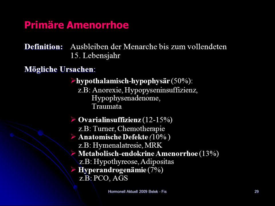 Hormonell Aktuell 2009 Belek - Fis Primäre Amenorrhoe Definition: Definition: Ausbleiben der Menarche bis zum vollendeten 15.