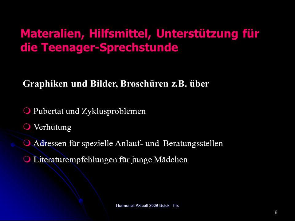 Hormonell Aktuell 2009 Belek - Fis 6 Materalien, Hilfsmittel, Unterstützung für die Teenager-Sprechstunde Graphiken und Bilder, Broschüren z.B.