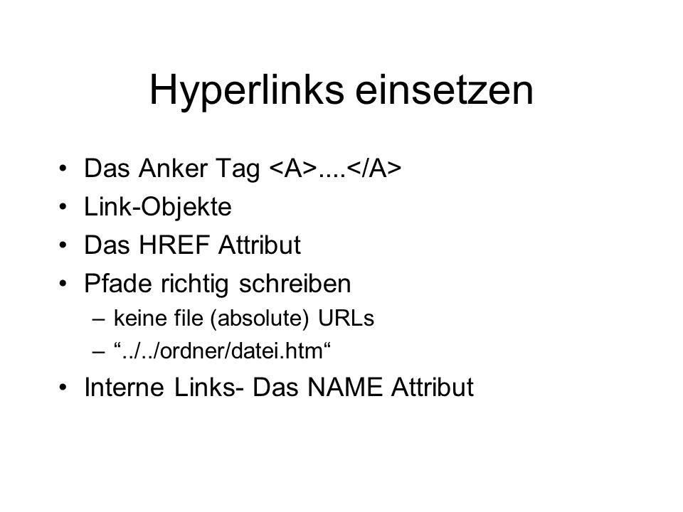 Hyperlinks einsetzen Das Anker Tag....