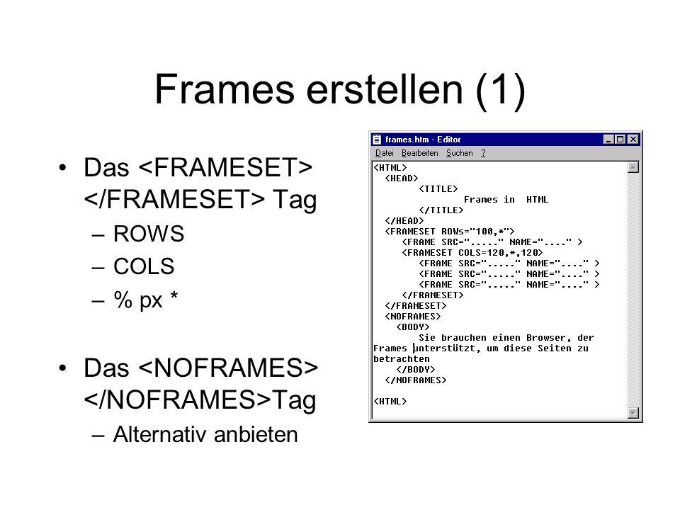 Frames erstellen (1) Das Tag –ROWS –COLS –% px * Das Tag –Alternativ anbieten