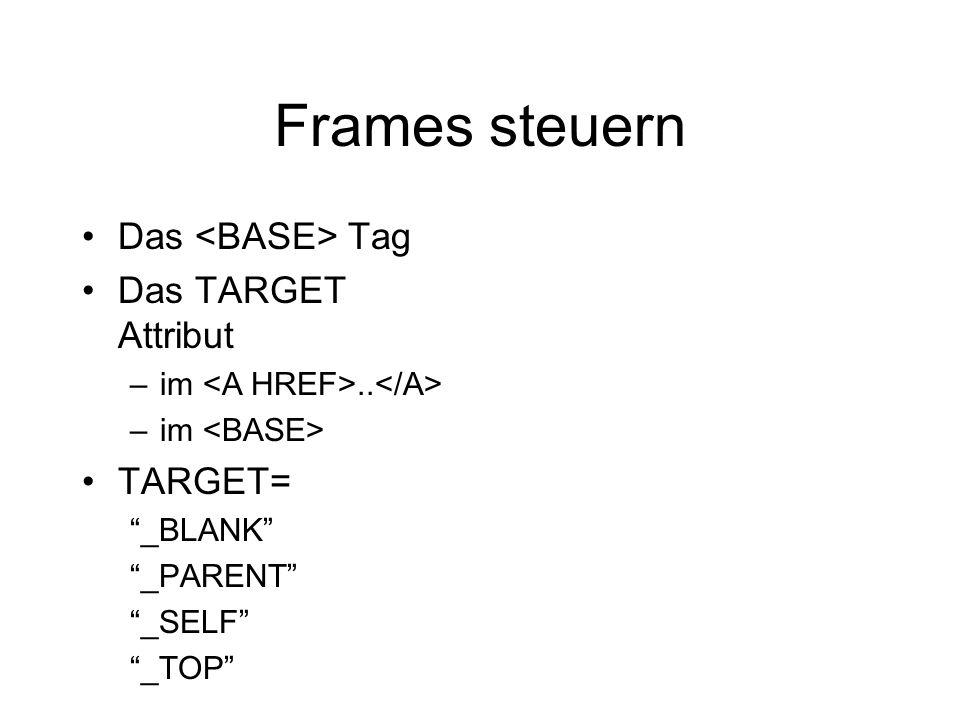 Frames steuern Das Tag Das TARGET Attribut –im.. –im TARGET= _BLANK _PARENT _SELF _TOP