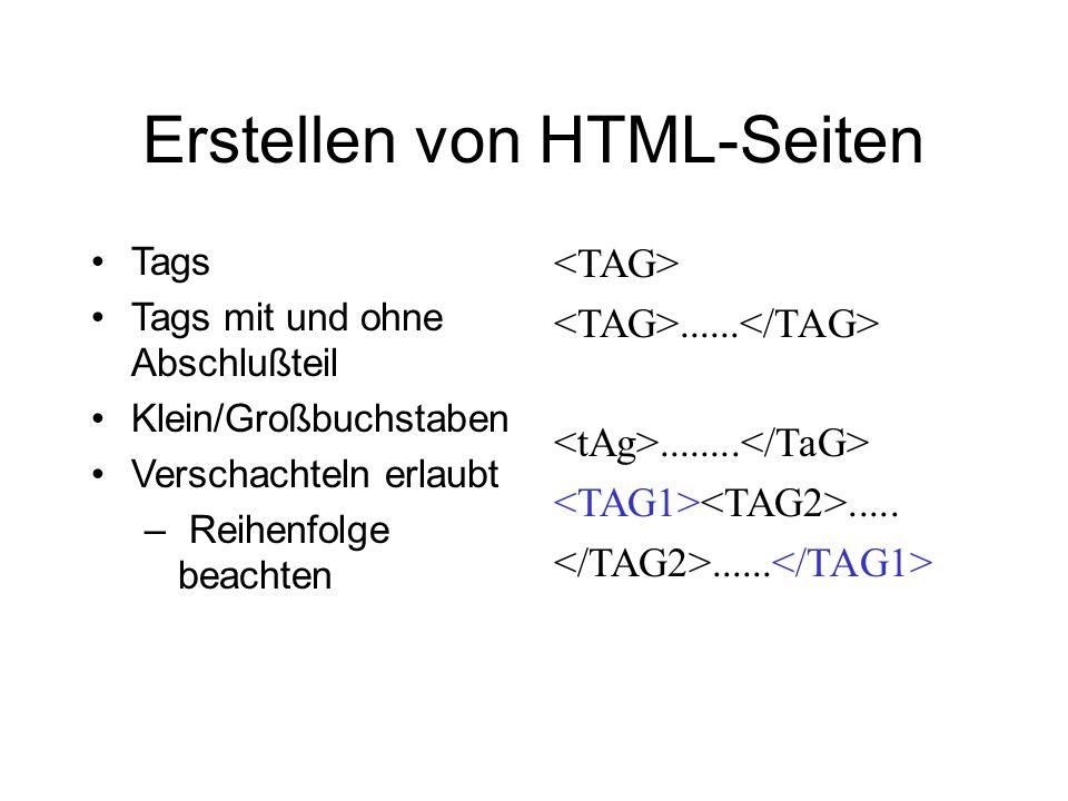Erstellen von HTML-Seiten Tags Tags mit und ohne Abschlußteil Klein/Großbuchstaben Verschachteln erlaubt – Reihenfolge beachten.........................