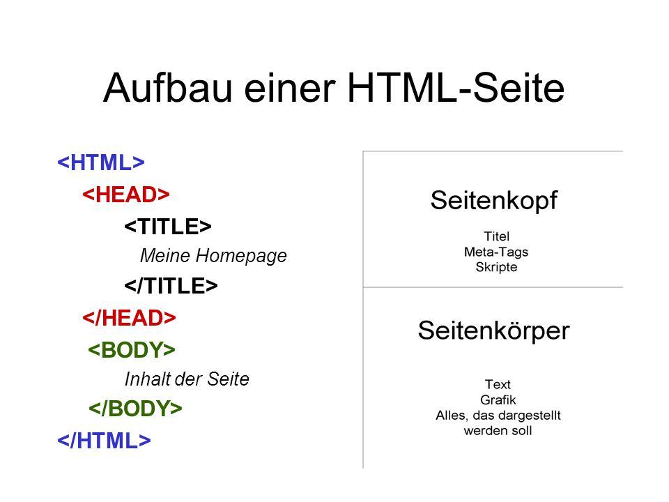 Aufbau einer HTML-Seite Meine Homepage Inhalt der Seite