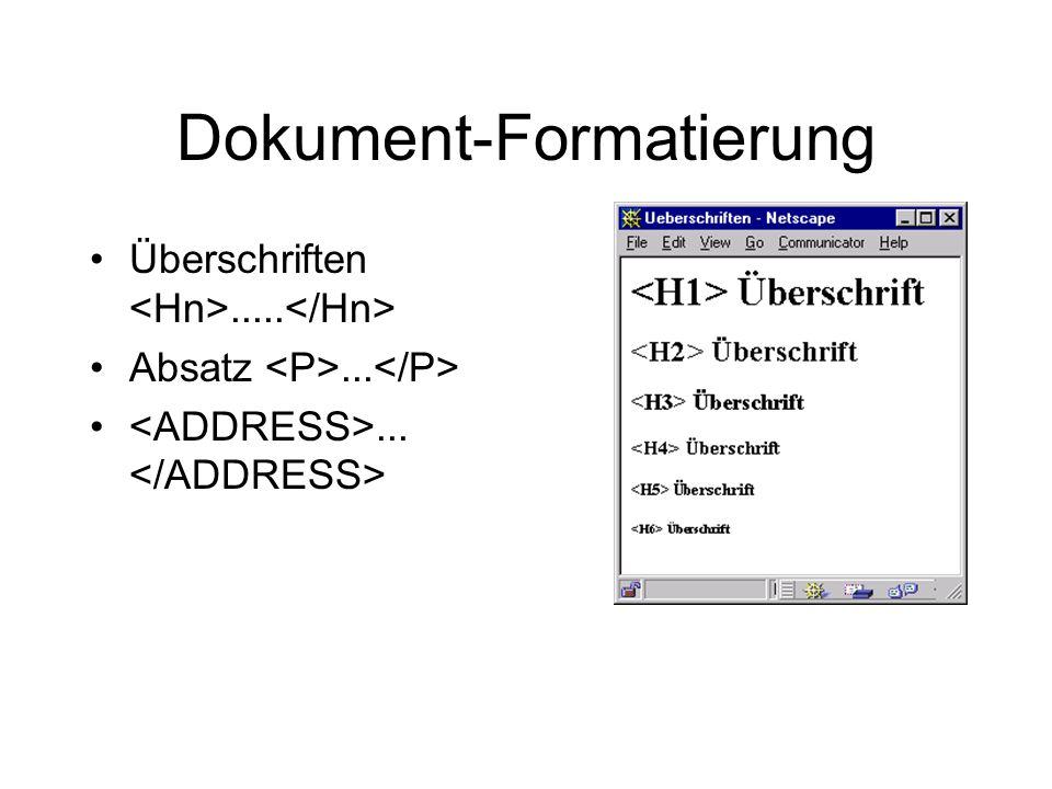Dokument-Formatierung Überschriften..... Absatz......