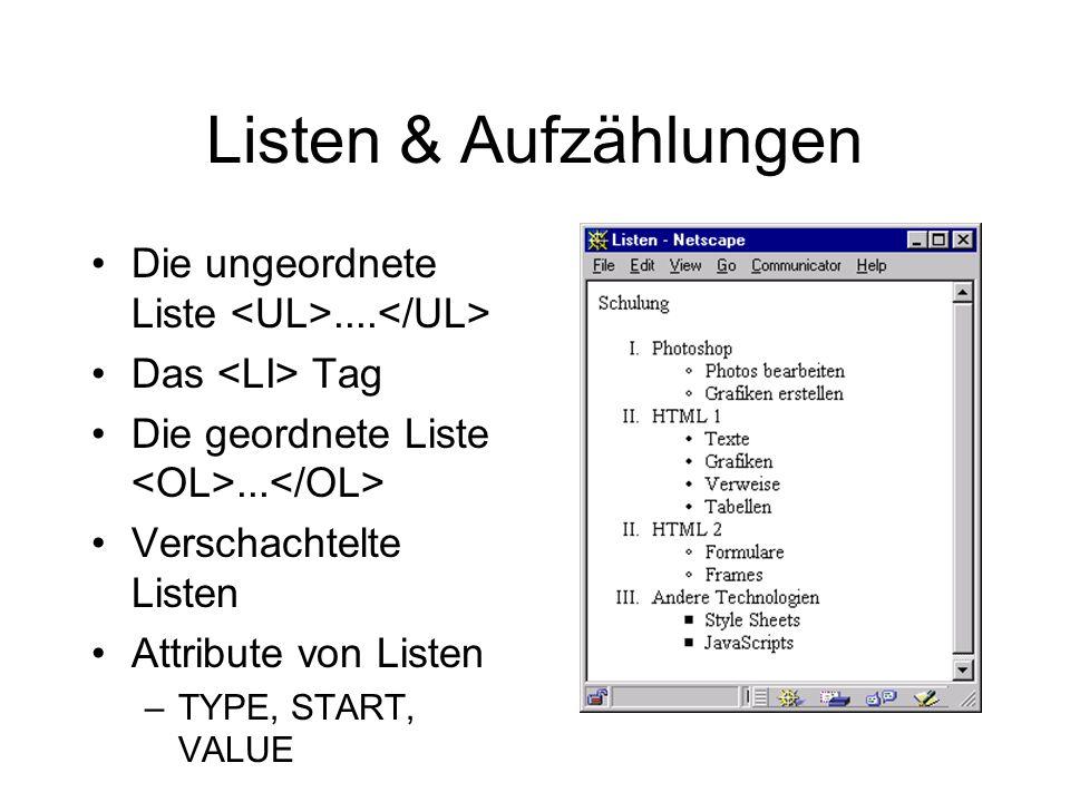 Listen & Aufzählungen Die ungeordnete Liste.... Das Tag Die geordnete Liste...
