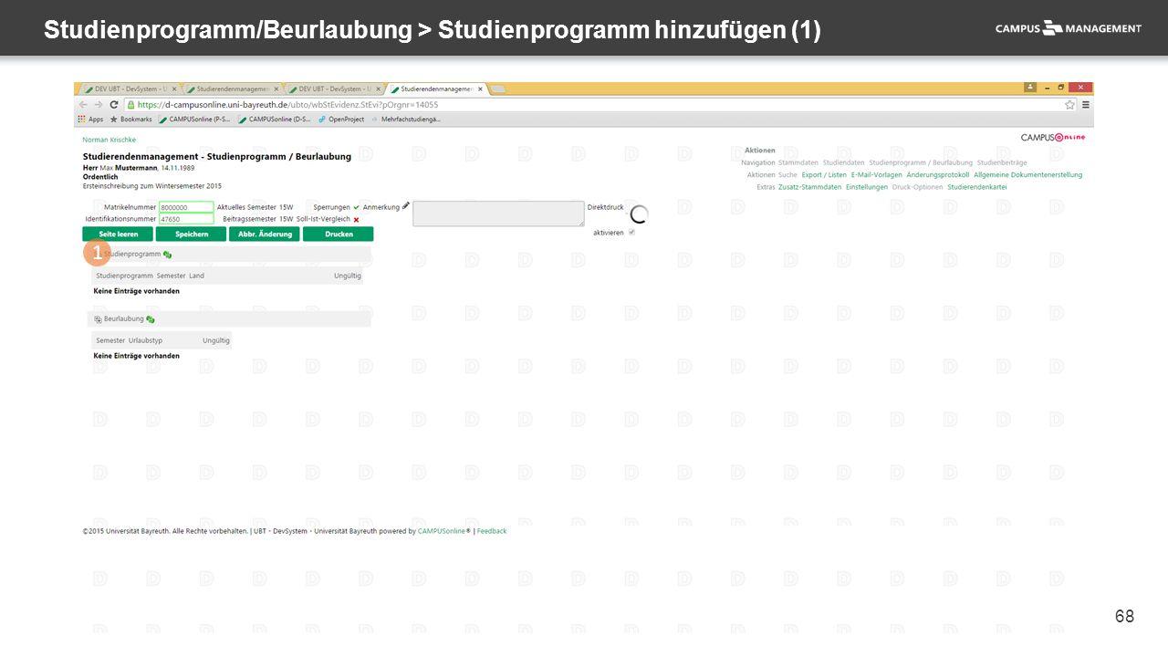 68 Studienprogramm/Beurlaubung > Studienprogramm hinzufügen (1) 1