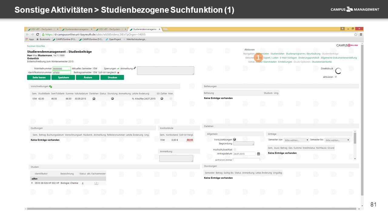 81 Sonstige Aktivitäten > Studienbezogene Suchfunktion (1) 1