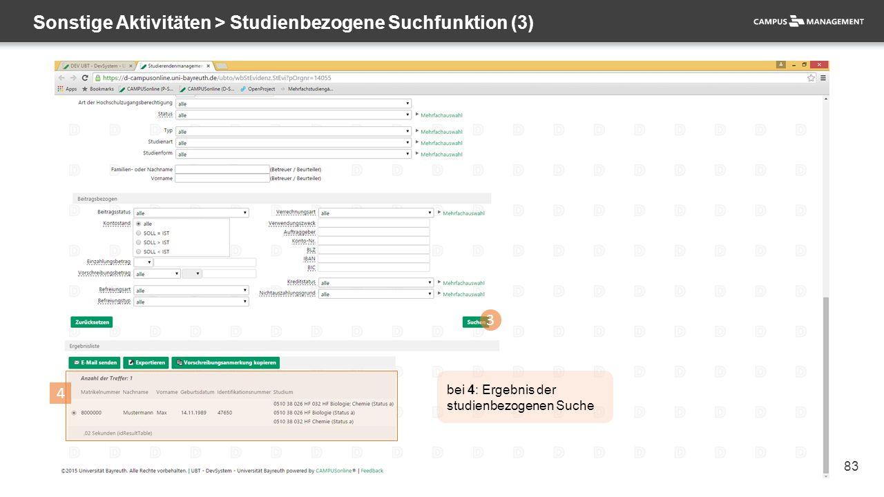 83 Sonstige Aktivitäten > Studienbezogene Suchfunktion (3) 3 4 bei 4: Ergebnis der studienbezogenen Suche