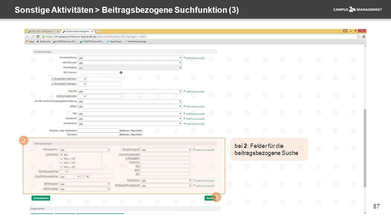 87 Sonstige Aktivitäten > Beitragsbezogene Suchfunktion (3) 2 3 bei 2: Felder für die beitragsbezogene Suche