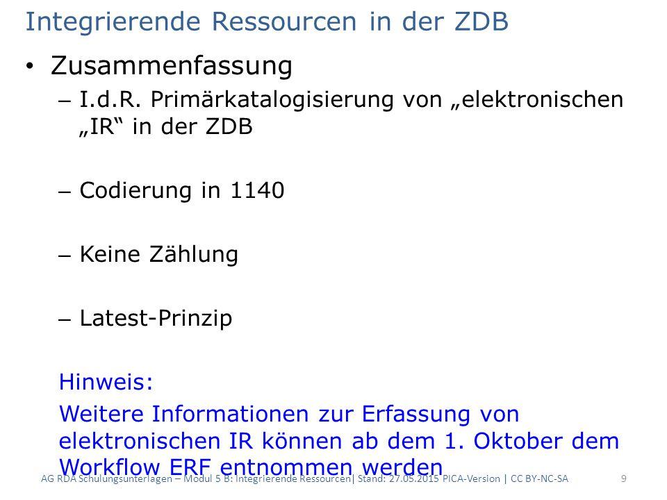 """Integrierende Ressourcen in der ZDB Zusammenfassung – I.d.R. Primärkatalogisierung von """"elektronischen """"IR"""" in der ZDB – Codierung in 1140 – Keine Zäh"""
