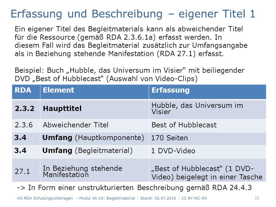 """RDAElementErfassung 2.3.2Haupttitel Hubble, das Universum im Visier 2.3.6Abweichender TitelBest of Hubblecast 3.4Umfang (Hauptkomponente) 170 Seiten 3.4Umfang (Begleitmaterial) 1 DVD-Video 27.1 In Beziehung stehende Manifestation """"Best of Hubblecast (1 DVD- Video) beigelegt in einer Tasche Erfassung und Beschreibung – eigener Titel 1 Ein eigener Titel des Begleitmaterials kann als abweichender Titel für die Ressource (gemäß RDA 2.3.6.1a) erfasst werden."""
