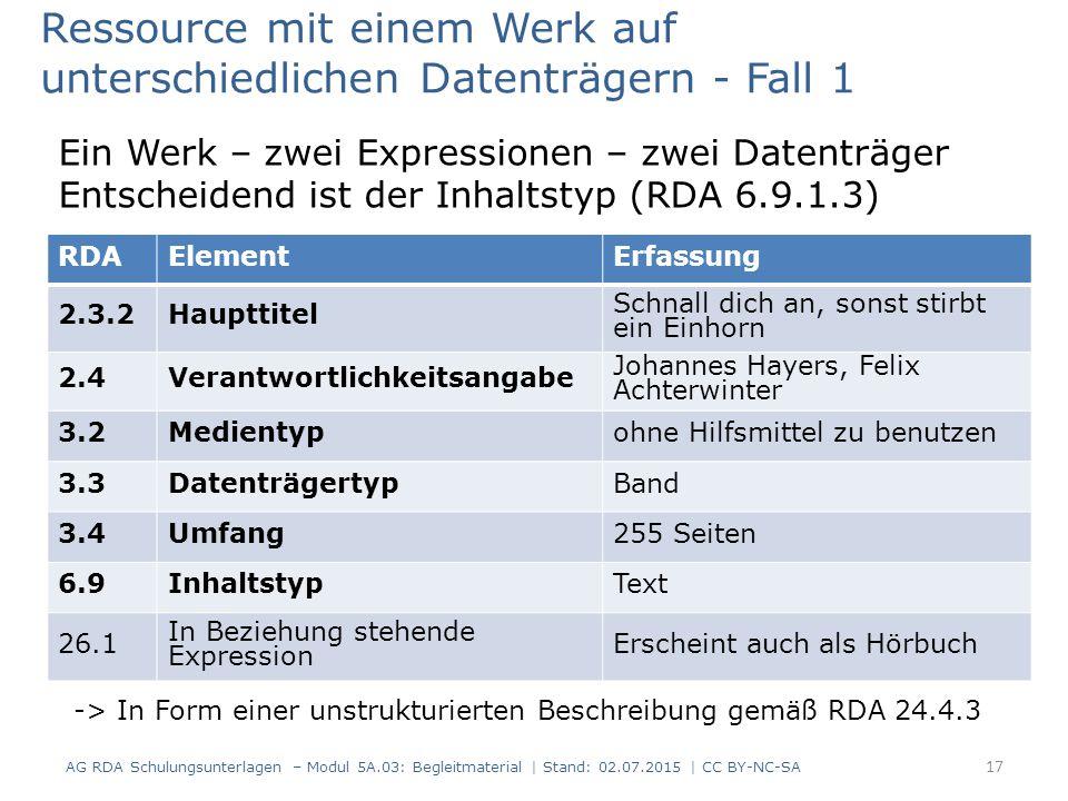 RDAElementErfassung 2.3.2Haupttitel Schnall dich an, sonst stirbt ein Einhorn 2.4Verantwortlichkeitsangabe Johannes Hayers, Felix Achterwinter 3.2Medientypohne Hilfsmittel zu benutzen 3.3DatenträgertypBand 3.4Umfang255 Seiten 6.9InhaltstypText 26.1 In Beziehung stehende Expression Erscheint auch als Hörbuch Ressource mit einem Werk auf unterschiedlichen Datenträgern - Fall 1 Ein Werk – zwei Expressionen – zwei Datenträger Entscheidend ist der Inhaltstyp (RDA 6.9.1.3) 17 AG RDA Schulungsunterlagen – Modul 5A.03: Begleitmaterial | Stand: 02.07.2015 | CC BY-NC-SA -> In Form einer unstrukturierten Beschreibung gemäß RDA 24.4.3
