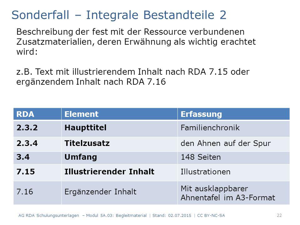 RDAElementErfassung 2.3.2HaupttitelFamilienchronik 2.3.4Titelzusatzden Ahnen auf der Spur 3.4Umfang148 Seiten 7.15Illustrierender InhaltIllustrationen 7.16Ergänzender Inhalt Mit ausklappbarer Ahnentafel im A3-Format Sonderfall – Integrale Bestandteile 2 Beschreibung der fest mit der Ressource verbundenen Zusatzmaterialien, deren Erwähnung als wichtig erachtet wird: z.B.