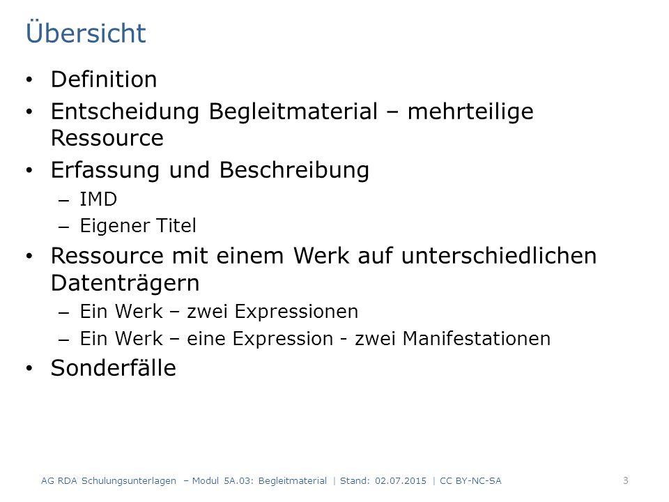 RDAElementErfassung 3.4Umfang (Hauptkomponente)190 Seiten 3.4Umfang (Begleitmaterial)1 Karte 3.5Maße (Hauptkomponente)25 cm 3.5Maße (Begleitmaterial) 80 x 57 cm, gefaltet 21 x 10 cm 7.15 Illustrierender Inhalt (Hauptkomponente) Illustrationen Erfassung und Beschreibung – Umfangsangabe 6 Mit Angabe des Umfangs und weiterer Datenträgereigenschaften des Begleitmaterials Darstellung im ISBD-Format: 190 Seiten : Illustrationen ; 25 cm + 1 Karte (80 x 57 cm, gefaltet 21 x 10 cm) 14 AG RDA Schulungsunterlagen – Modul 5A.03: Begleitmaterial   Stand: 02.07.2015   CC BY-NC-SA