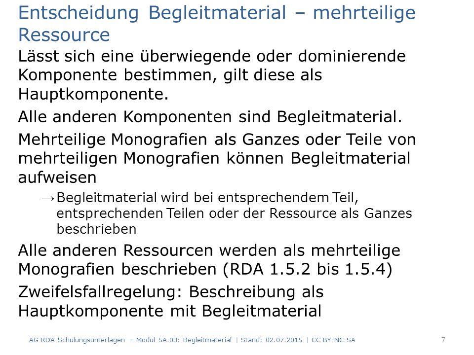 RDAElementErfassung 3.2Medientypohne Hilfsmittel zu benutzen 3.3DatenträgertypBand 6.9InhaltstypText Erfassung und Beschreibung - IMD Inhalts-, Medien- und Datenträgertyp von Begleitmaterial wird nicht berücksichtigt (RDA 6.9.1.3 D-A-CH, RDA 3.2.1.3 D-A-CH sowie RDA 3.3.1.3 D-A-CH) Beispiel einer Dissertation bestehend aus einem Textteil in gedruckter Form und einer CD-ROM mit statistischen Daten: 8 AG RDA Schulungsunterlagen – Modul 5A.03: Begleitmaterial   Stand: 02.07.2015   CC BY-NC-SA