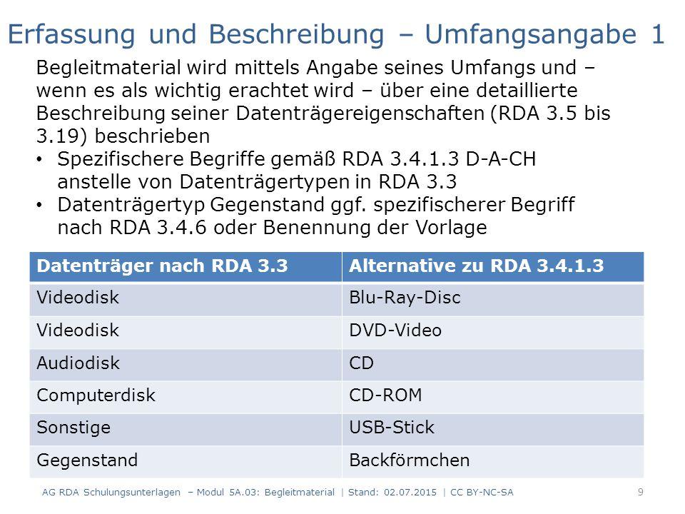 RDAElementErfassung 2.3.2Haupttitel Microsoft Windows Server 2008 2.3.4Titelzusatzdas Handbuch 2.4VerantwortlichkeitsangabeThomas Joos 3.2MedientypComputermedien 3.3DatenträgertypComputerdisk 3.4Umfang1 DVD-ROM 6.9InhaltstypText 6.9InhaltstypComputerprogramm 24.5BeziehungskennzeichnungErscheint auch als 27.1 In Beziehung stehende Manifestation (Identifikator hier: Datensatznummer) 123456789 Ressource mit einem Werk auf unterschiedlichen Datenträgern - Fall 2 Die DVD-ROM enthält außerdem Tools und Software von Microsoft 20 AG RDA Schulungsunterlagen – Modul 5A.03: Begleitmaterial   Stand: 02.07.2015   CC BY-NC-SA