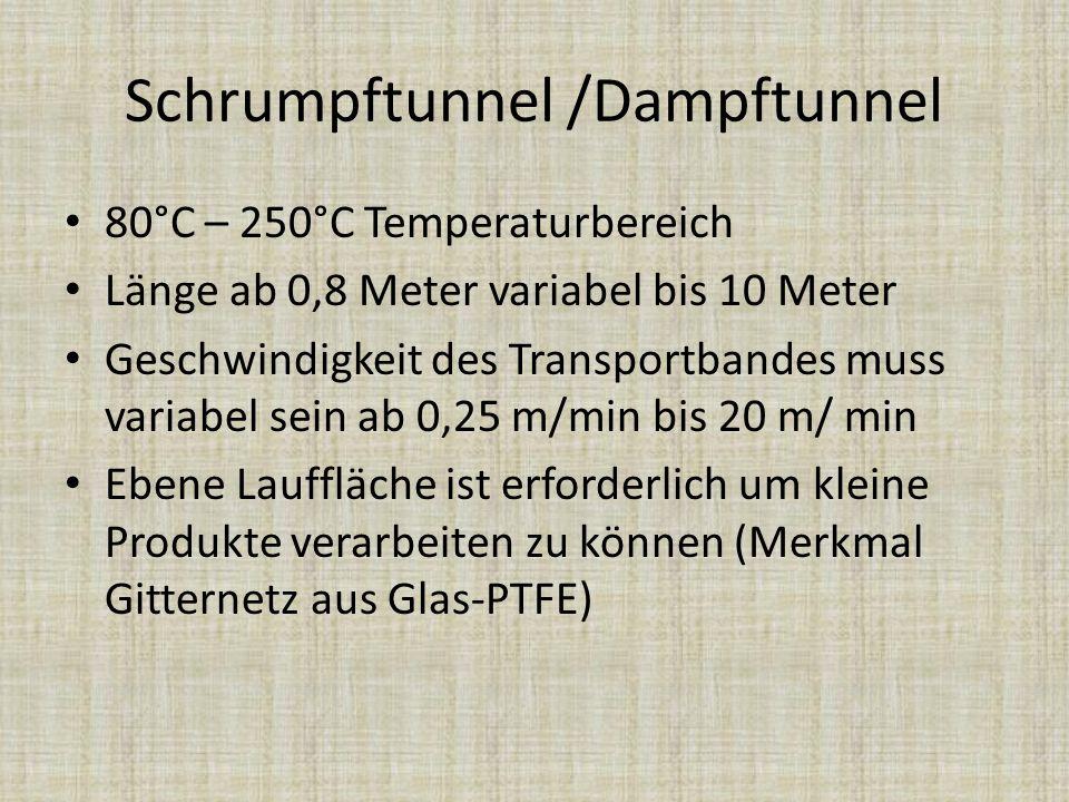 Schrumpftunnel /Dampftunnel 80°C – 250°C Temperaturbereich Länge ab 0,8 Meter variabel bis 10 Meter Geschwindigkeit des Transportbandes muss variabel