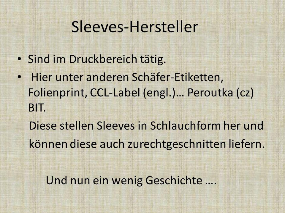 Sleeves-Hersteller Sind im Druckbereich tätig. Hier unter anderen Schäfer-Etiketten, Folienprint, CCL-Label (engl.)… Peroutka (cz) BIT. Diese stellen