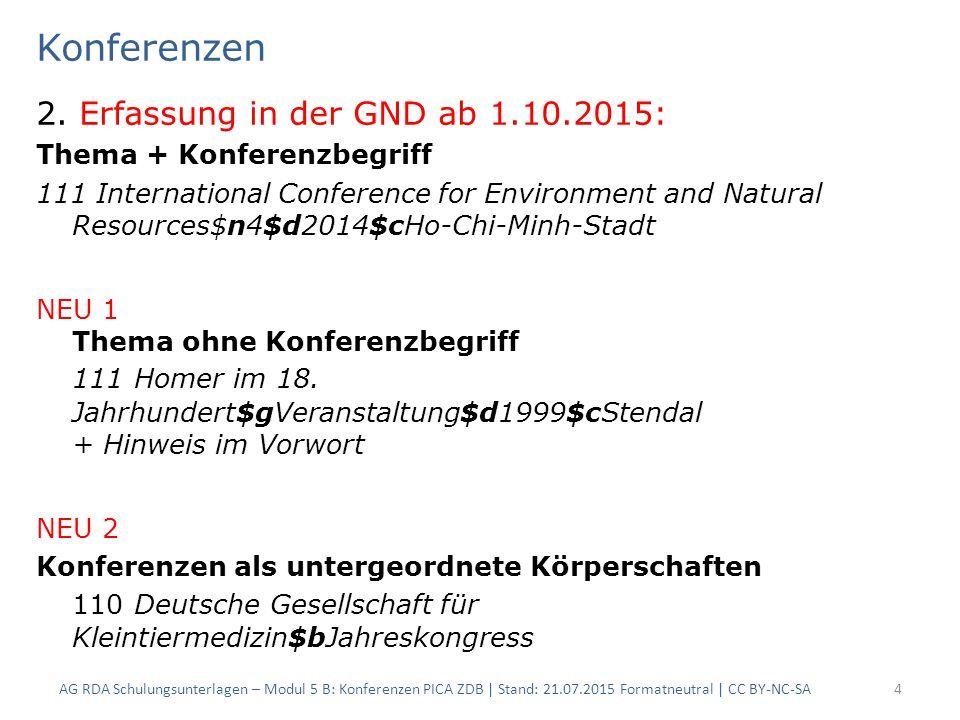 Konferenzen 2. Erfassung in der GND ab 1.10.2015: Thema + Konferenzbegriff 111 International Conference for Environment and Natural Resources$n4$d2014
