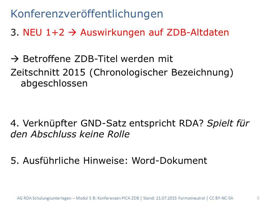 Konferenzveröffentlichungen 3. NEU 1+2  Auswirkungen auf ZDB-Altdaten  Betroffene ZDB-Titel werden mit Zeitschnitt 2015 (Chronologischer Bezeichnung