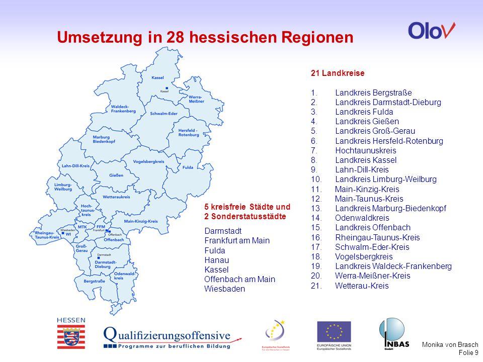 Monika von Brasch Folie 10 Regionale Koordinator/inn/en  steuern die Umsetzung der Qualitätsstandards in der Region  koordinieren die Treffen der Regionalen Akteure  koordinieren die Erstellung der regionalen Zielvereinbarung  berichten über den Stand der Umsetzung  sind antragsberechtigt für die OloV-Zuschüsse