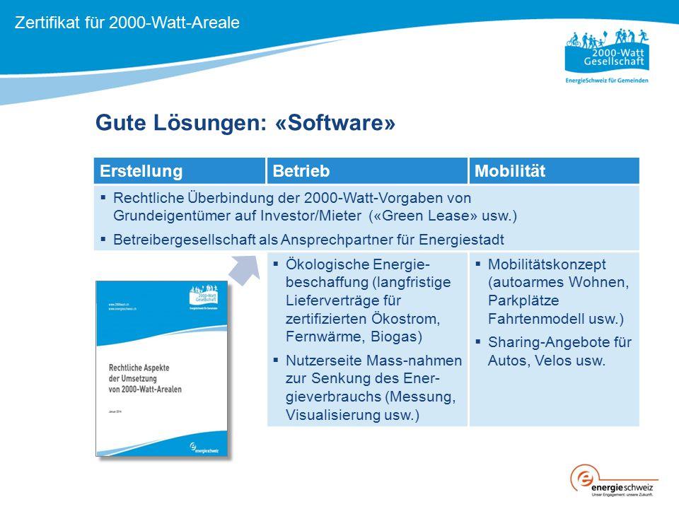 ErstellungBetriebMobilität  Rechtliche Überbindung der 2000-Watt-Vorgaben von Grundeigentümer auf Investor/Mieter («Green Lease» usw.)  Betreiberges
