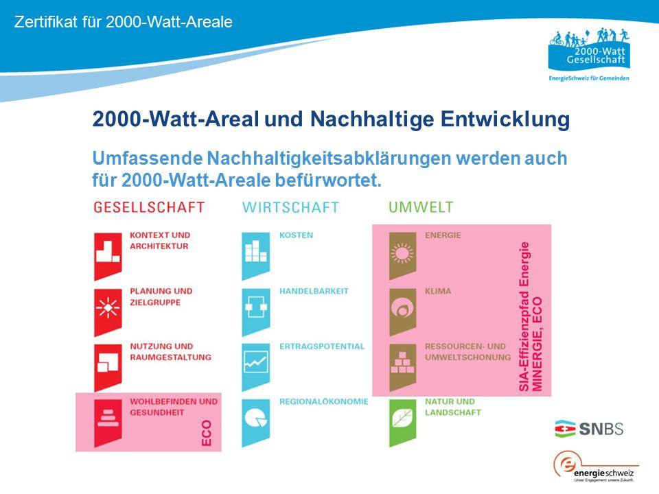 2000-Watt-Areal und Nachhaltige Entwicklung Umfassende Nachhaltigkeitsabklärungen werden auch für 2000-Watt-Areale befürwortet. Komplementäre Ansätze