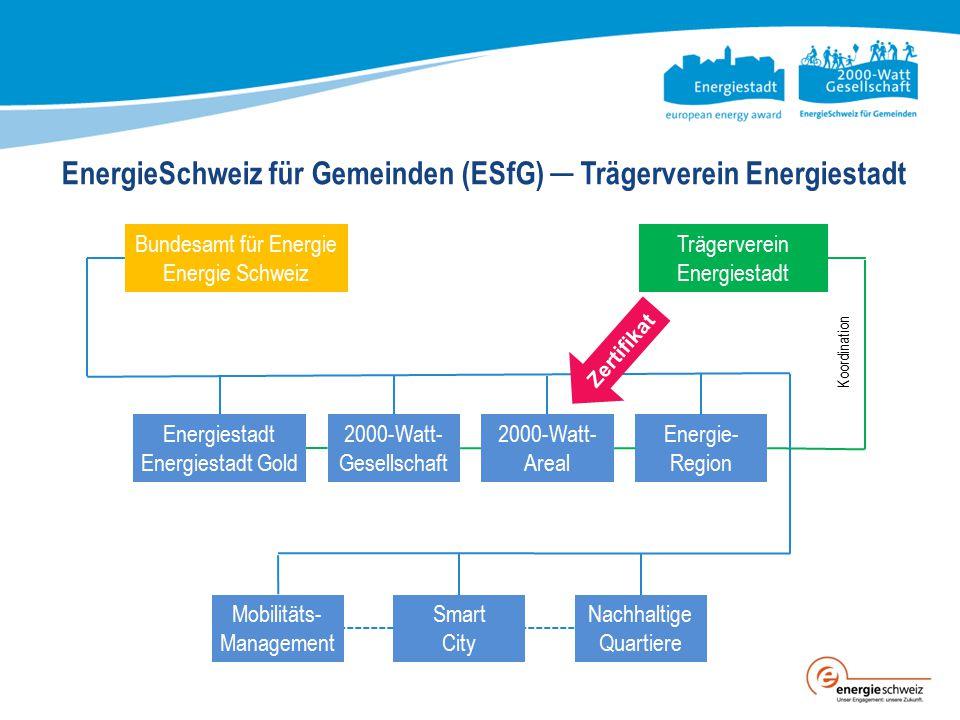 EnergieSchweiz für Gemeinden (ESfG) ─ Trägerverein Energiestadt Bundesamt für Energie Energie Schweiz Trägerverein Energiestadt Energiestadt Energiest