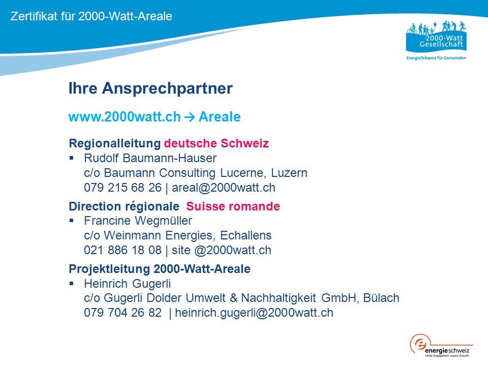 Ihre Ansprechpartner www.2000watt.ch → Areale Regionalleitung deutsche Schweiz  Rudolf Baumann-Hauser c/o Baumann Consulting Lucerne, Luzern 079 215
