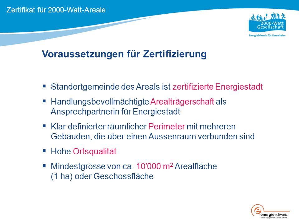 Kernidee: Laufende Evaluation in Entwicklung, Planung, Realisierung und Betrieb Zertifikat «2000-Watt-Areal» Zertifikat für 2000-Watt-Areale BilanzProzess