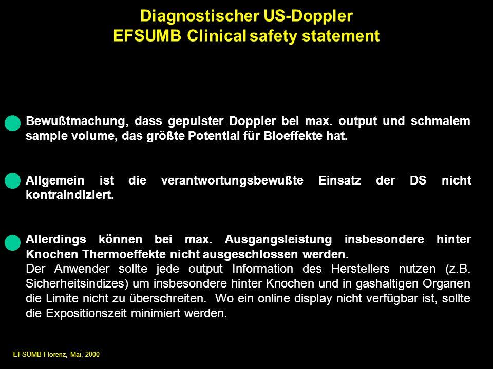 Bewußtmachung, dass gepulster Doppler bei max. output und schmalem sample volume, das größte Potential für Bioeffekte hat. Allgemein ist die verantwor