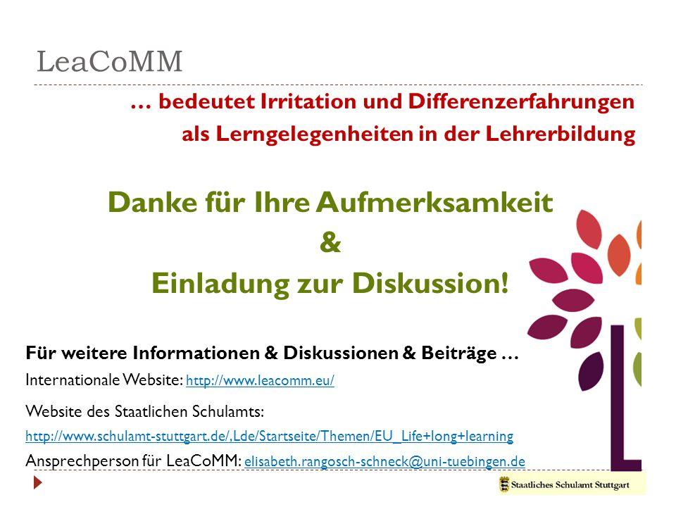 LeaCoMM … bedeutet Irritation und Differenzerfahrungen als Lerngelegenheiten in der Lehrerbildung Danke für Ihre Aufmerksamkeit & Einladung zur Diskussion.