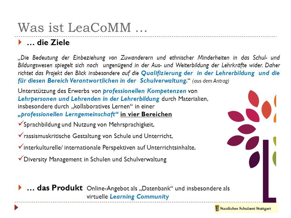 """Was ist LeaCoMM …  … die Ziele  … das Produkt Online-Angebot als """"Datenbank und insbesondere als virtuelle Learning Community """"Die Bedeutung der Einbeziehung von Zuwanderern und ethnischer Minderheiten in das Schul- und Bildungswesen spiegelt sich noch ungenügend in der Aus- und Weiterbildung der Lehrkräfte wider."""