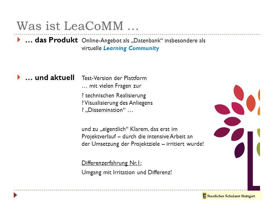 """Was ist LeaCoMM …  … das Produkt Online-Angebot als """"Datenbank insbesondere als virtuelle Learning Community  … und aktuell Test-Version der Plattform … mit vielen Fragen zur ."""