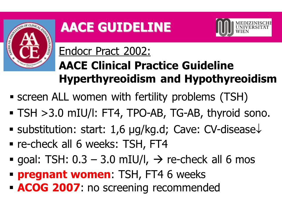AACE GUIDELINE Endocr Pract 2002: AACE Clinical Practice Guideline Hyperthyreoidism and Hypothyreoidism  screen ALL women with fertility problems (TS