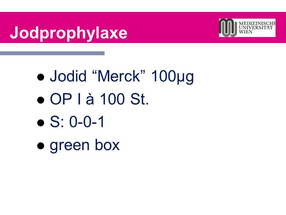"Jodprophylaxe Jodid ""Merck"" 100µg OP I à 100 St. S: 0-0-1 green box"