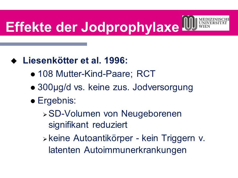Effekte der Jodprophylaxe  Liesenkötter et al. 1996: 108 Mutter-Kind-Paare; RCT 300µg/d vs. keine zus. Jodversorgung Ergebnis:  SD-Volumen von Neuge
