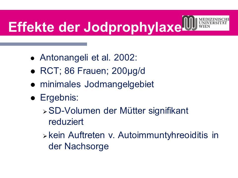 Effekte der Jodprophylaxe Antonangeli et al. 2002: RCT; 86 Frauen; 200µg/d minimales Jodmangelgebiet Ergebnis:  SD-Volumen der Mütter signifikant red