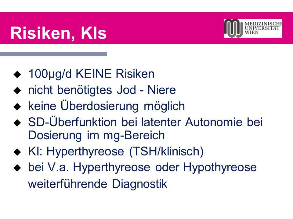 Risiken, KIs  100µg/d KEINE Risiken  nicht benötigtes Jod - Niere  keine Überdosierung möglich  SD-Überfunktion bei latenter Autonomie bei Dosieru