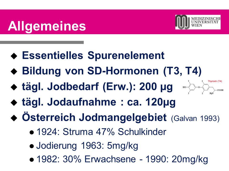 Allgemeines  Essentielles Spurenelement  Bildung von SD-Hormonen (T3, T4)  tägl. Jodbedarf (Erw.): 200 µg  tägl. Jodaufnahme : ca. 120µg  Österre