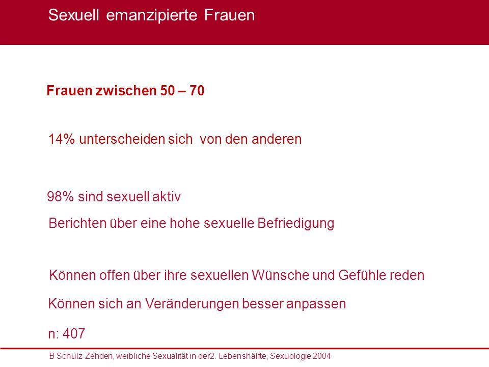 Sexualmedizin: erektile Dysfunktion im Fokus, 22. – 23. Oktober 2010 Frauen zwischen 50 – 70 98% sind sexuell aktiv Können offen über ihre sexuellen W