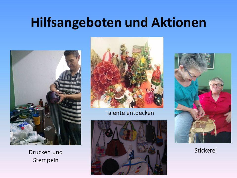 Hilfsangeboten und Aktionen Drucken und Stempeln Stickerei Talente entdecken