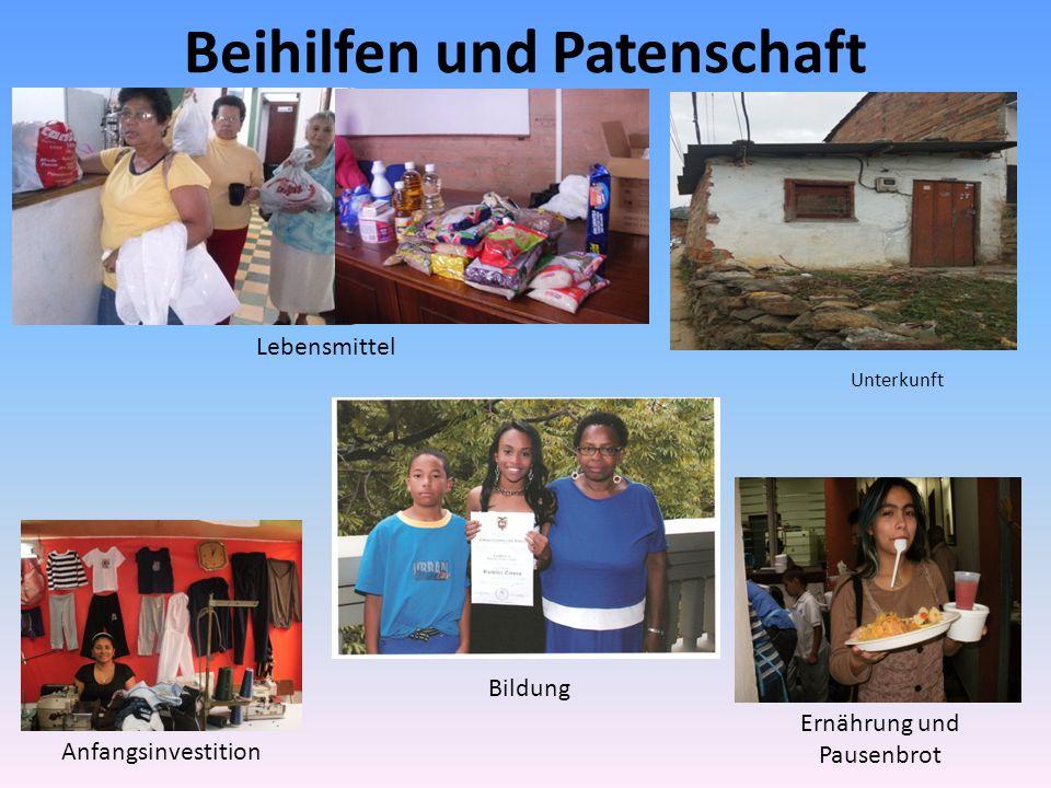Beihilfen und Patenschaft Anfangsinvestition Bildung Unterkunft Ernährung und Pausenbrot Lebensmittel