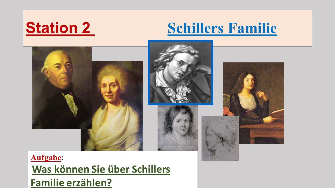 Station 2 Schillers Familie Aufgabe : Was kӧnnen Sie über Schillers Familie erzӓhlen?