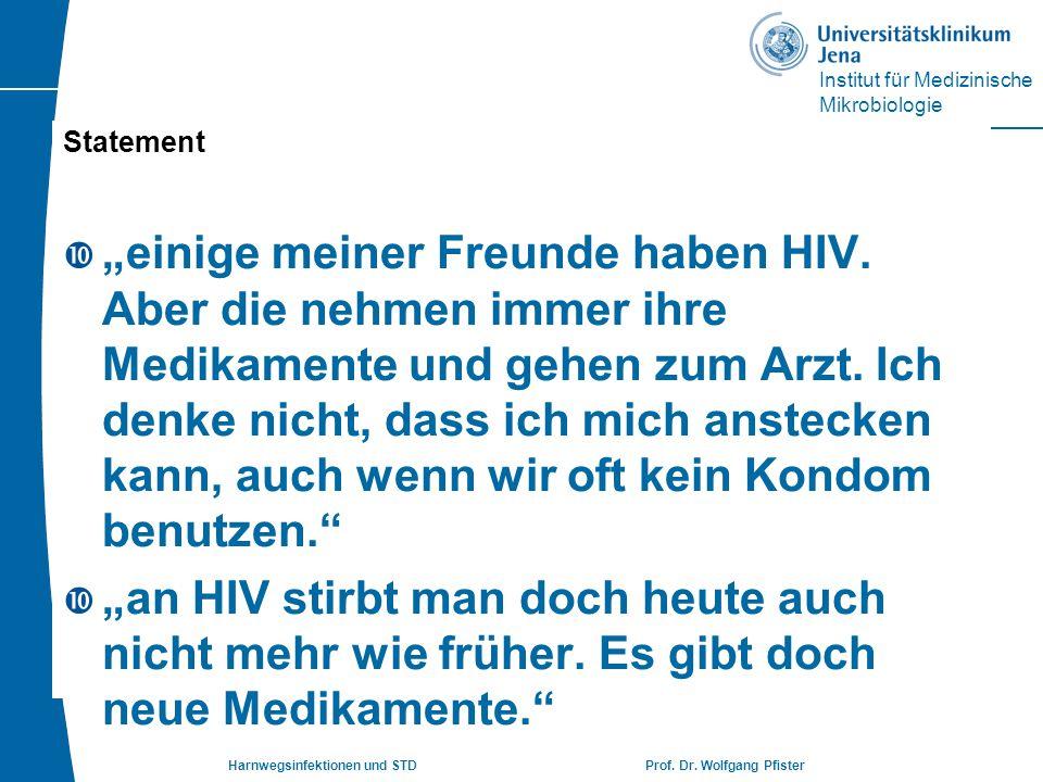 """Institut für Medizinische Mikrobiologie Harnwegsinfektionen und STD Prof. Dr. Wolfgang Pfister Statement  """"einige meiner Freunde haben HIV. Aber die"""